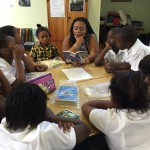 Grade 4 book club with librarian Noloyiso Dalamba