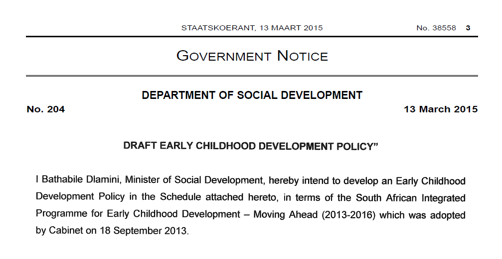 Draft ECD Policy
