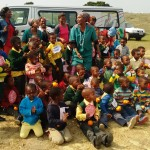 A group of children and adults who took part in the story-telling activity